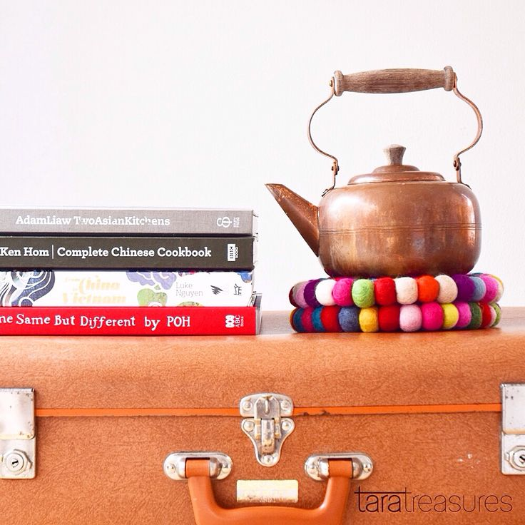 Our vintage copper teapot seats elegantly on the teapot trivets. #teapot #teapottrivet