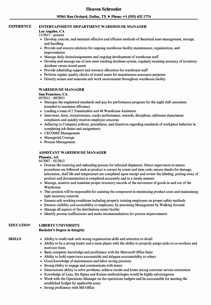 23 Warehouse Job Description Resume in 2020 Office