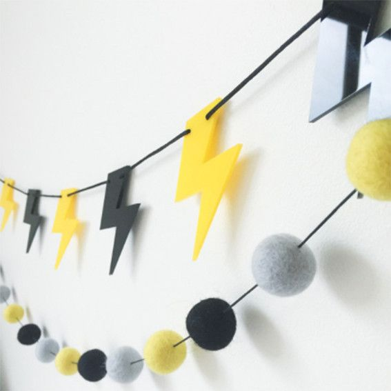 Perfect for the bedroom or kids playroom, this acrylic Black Batman and Mirror Lightning Bolt Garland is as super as it is cool!! Designed and made in Australi