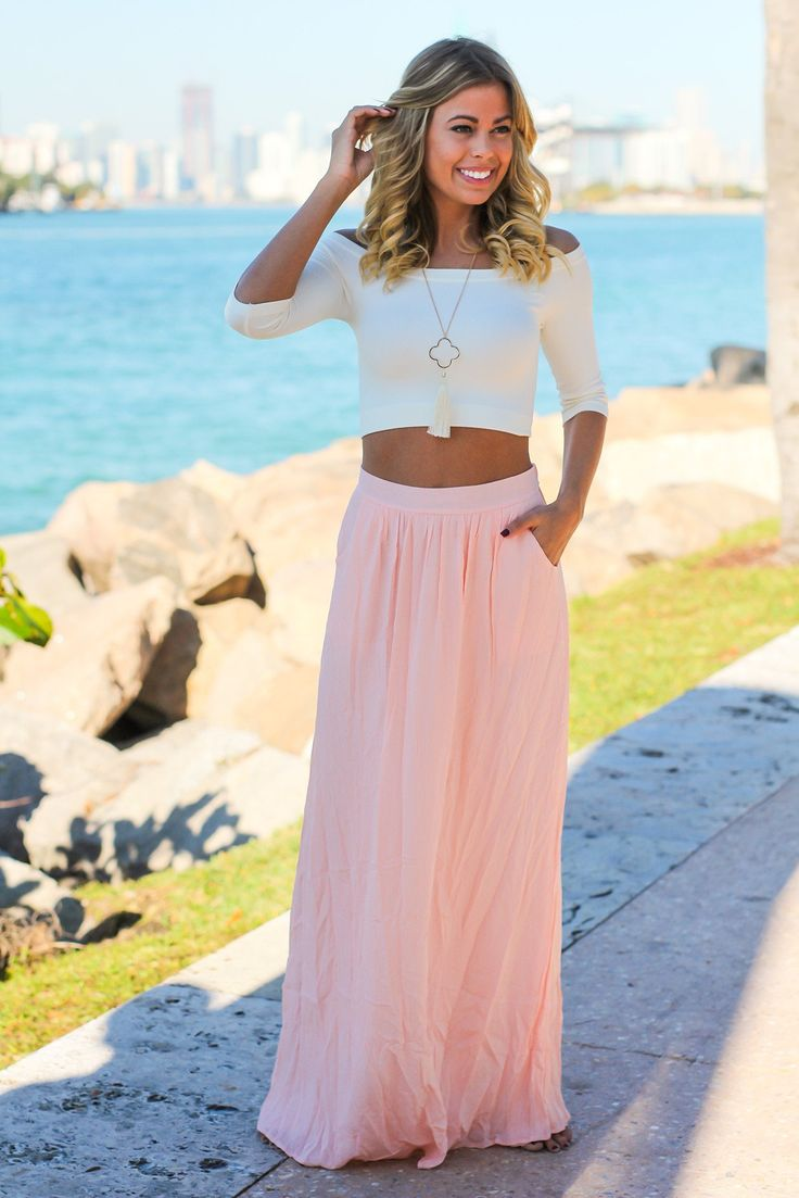 Pink Maxi Skirt with Pockets