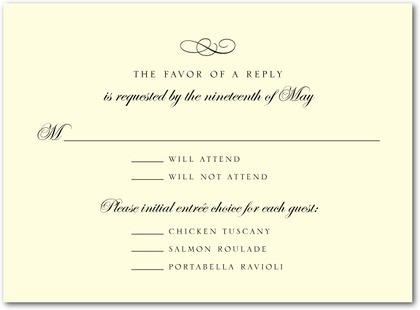 calligraphy swirl thermography wedding response cards in black or brown simplyput by ashley woodman