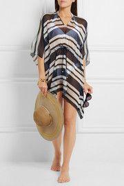 Striped silk-chiffon kaftan