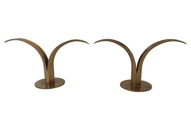 Ystad Metall Brass Candle Holders - Pair on Chairish.com