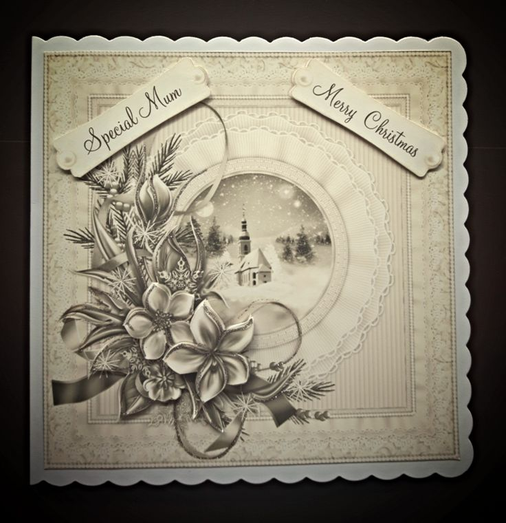 Handmade Christmas card for Special Mum with sepia winter scene