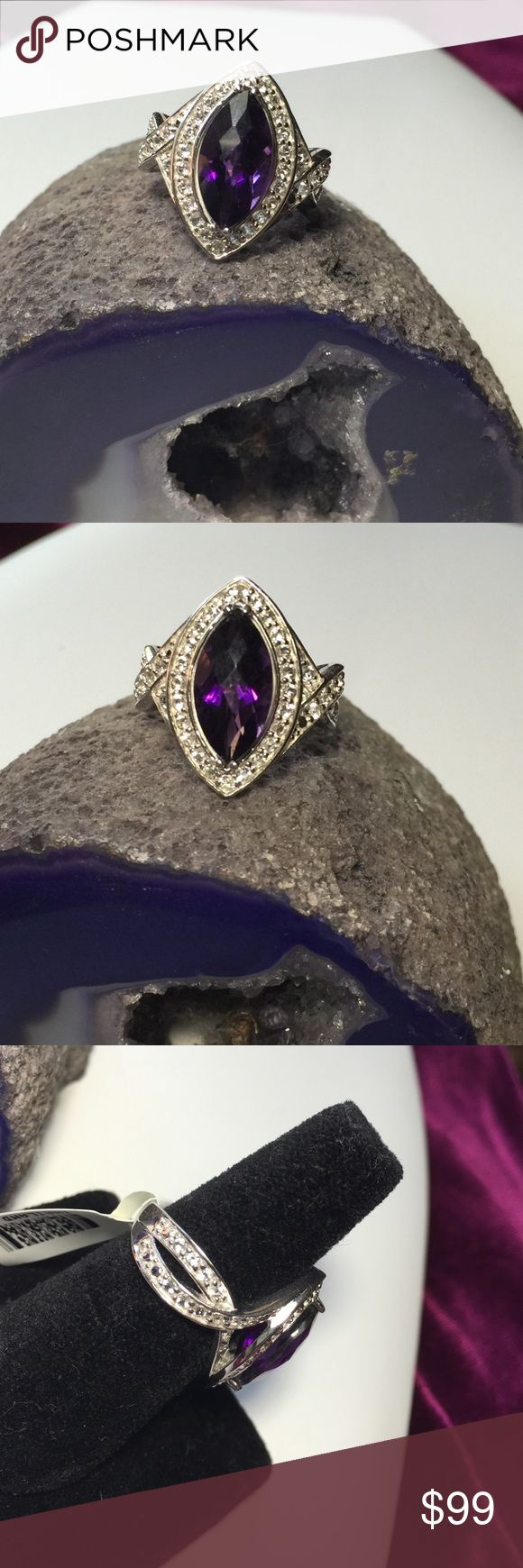 2.31ct Marquis Checkerboard African Amethyst💜💎 Stunning.  2.31CT Marquis Intense Labor Designer Checkerboard Cut African Amethyst and  84ctw Round Bright White Topaz. Simply Put Majestic.  These Natural Gemstones; Unheated. From the Earth to the Lapidary..💎 💜💎💜Set in 925 SS African Treasures Jewelry Rings