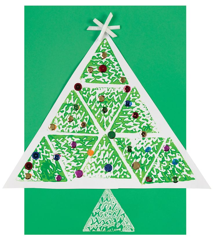 This triangular print tree will turn your classroom in a festive filled space.