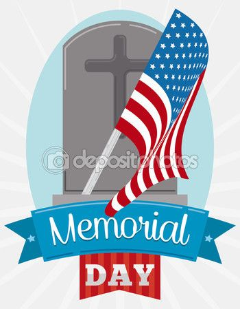 Tombstone with Pennant for Memorial Day Celebration