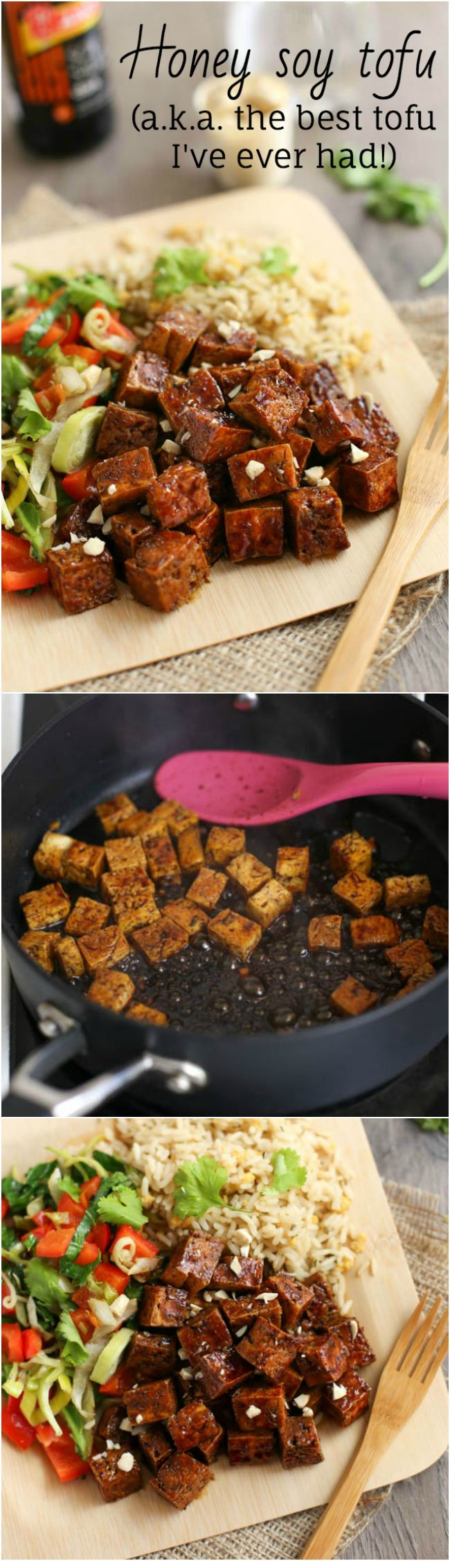 Honey soy tofu - the BEST tofu I've ever had! If you're not a tofu fan, you have to try this recipe. It's so easy, and the sweet, sticky, salty sauce is just incredible.