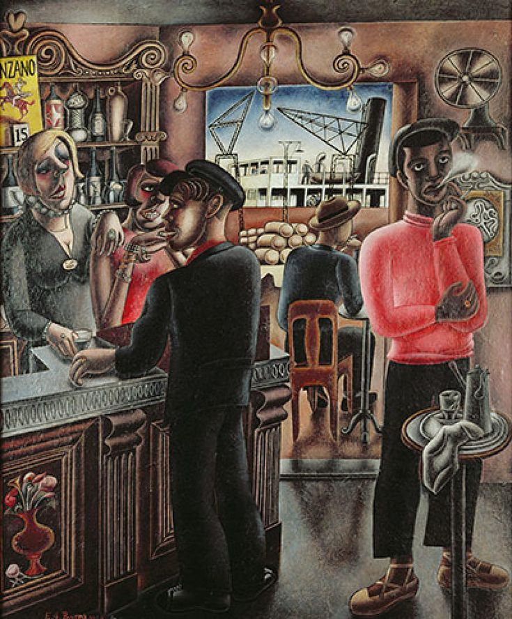 "steryios-mal: ""Edward Burra, Dockside Cafe, Marseilles, 1929 """