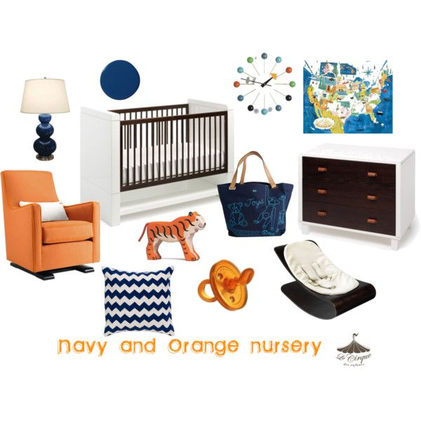 """""""navy/orange nursery"""" by shoplecirque on Polyvore featuring The Luca Glider in Orange."""