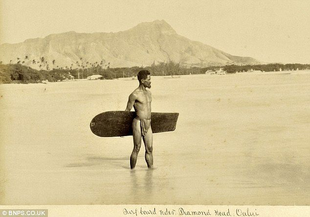 First known photograph of a surfer, 1890.
