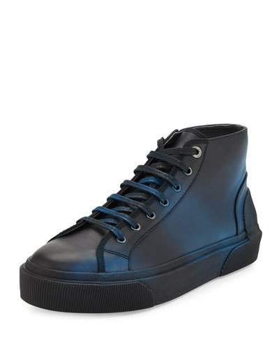 Lanvin+Two+Tone+Leather+Mid+Top+Sneakers+Black+Turquoise+|+Shoes+and+Footwear