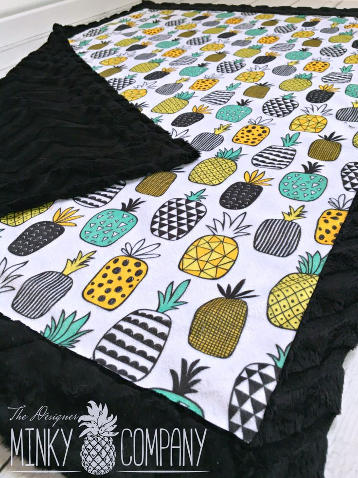 Pineapple Baby Blanket - Designer Minky Geo Pineapple - Black by TheDesignerMinkyCo on Etsy https://www.etsy.com/listing/286473595/pineapple-baby-blanket-designer-minky