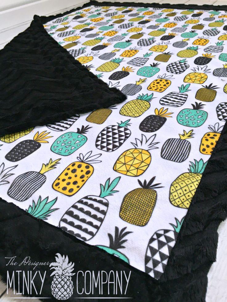 Pineapple Baby Blanket - Designer Minky Geo Pineapple - Black by TheDesignerMinkyCo on Etsy https://www.etsy.com/listing/286473595/pineapple-baby-blanket-designer-minky