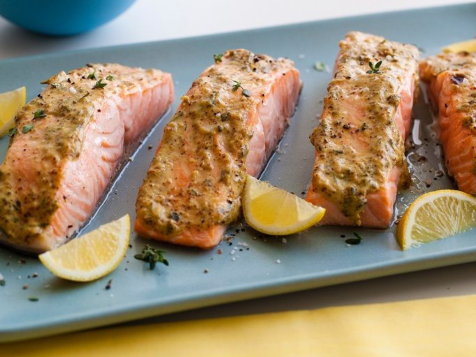 Salmon with Mustard Glaze | Eat Smart, Move More, Weigh LessEat Smart, Move More, Weigh Less