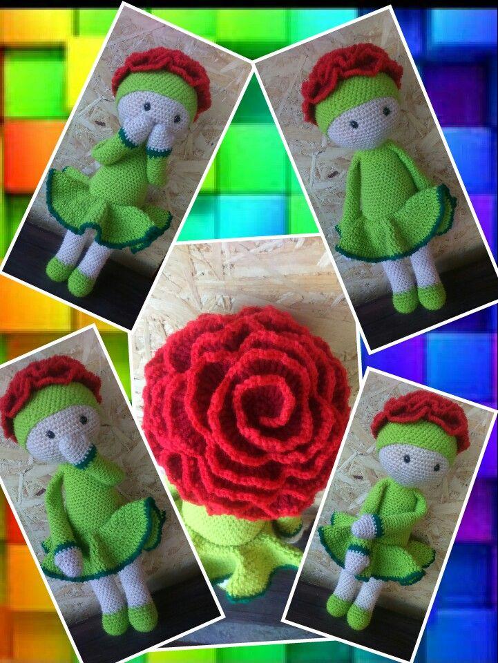 Carnation Cati flower doll made by Renata O - crochet pattern by Zabbez