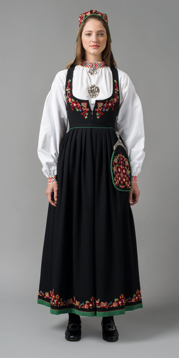 """Den nye Valdresbunaden (The new Valdres bunad"" in black from Valdres, Oppland, Norway (It is also made in blue, but I haven't found a picture)"