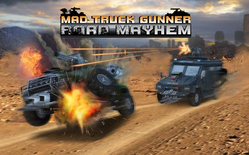 Mad Truck Gunner: Road Mayhem - Jump on your monster truck, race through enemy traffic, collect awesome power-ups, shoot your opponents and upgrade your vehicle! Have a blast, guys!