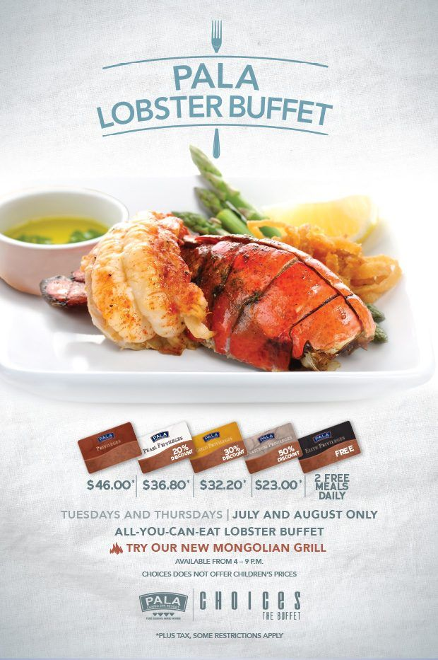 Enjoy our All-You-Can-Eat Lobster Buffet every Tuesday and Thursday. Starting July 4 through August 31, 2017.