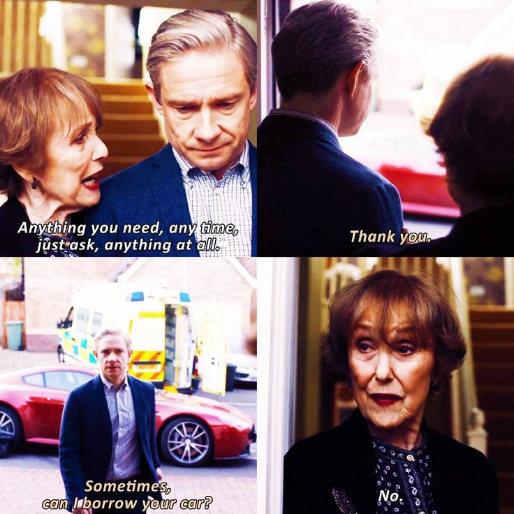 """Anything you need, any time, just ask, anything at all"" - Mrs. Hudson and John #Sherlock ((Bahaha anything except my amazing car! Mrs. Hudson is gold))"