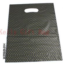 100pcs/lot Gold Stars Print Black Plastic Gift Bag 25x35cm Boutique Jewelry Packaging Bag Plastic Shopping Bags With Handle(China (Mainland))