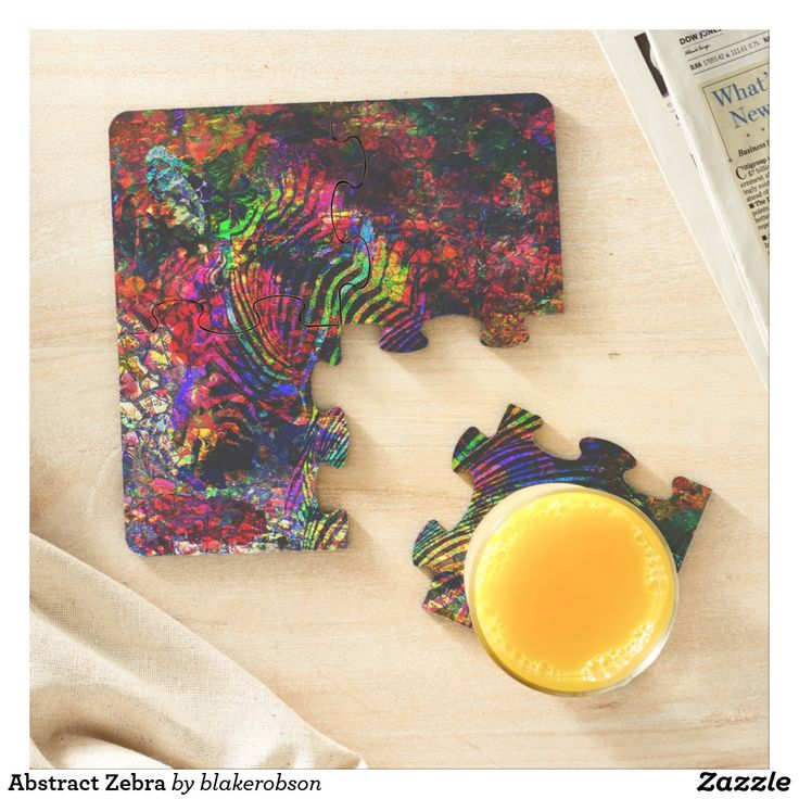 Abstract Zebra Puzzle Coaster