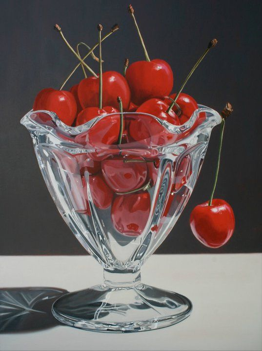 This is a PAINTING! by Daryl Gortner Cherries in an ice cream glass