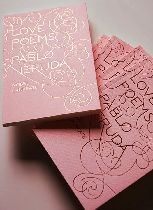 delicate foil stamp on pink cover