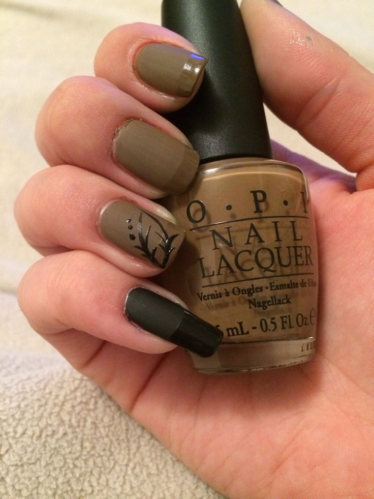 opi black and brown. matte nails