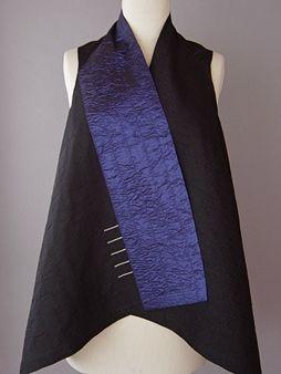 Draped Collar Vest Blue and Black  Juanita Girardin: