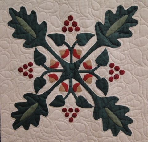 "close up, oak leaf block, in: ""Vintage Friendship Garden"" - The Santa Rosa Quilt Guild 2013-2014 Opportunity Quilt. Design from a book by Jeana Kimball"