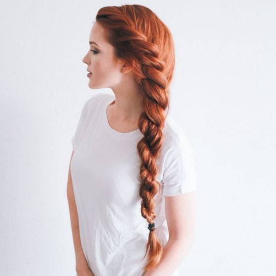 Lateral braid for long hair, red hair - Peinado trenzado lateral para pelo largo