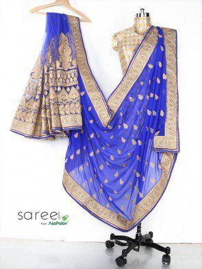 Blue Georgette Saree with Resham Embroidery Work
