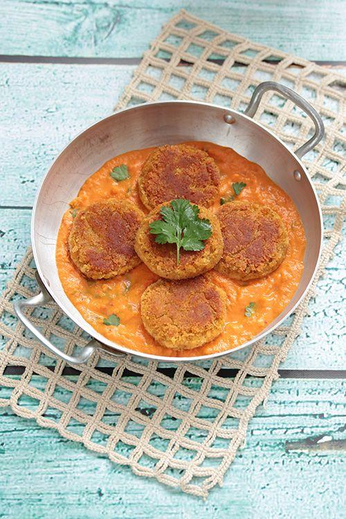 Croquettes de lentilles corail, sauce tomate-coco (vegan)