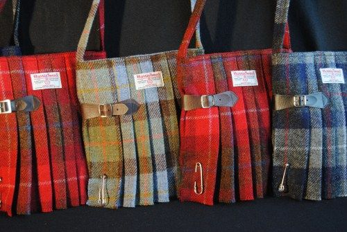 Harris Tweed Shoulder Bags  Stunning original shoulder bags in the shape of a kilt, made from pure Harris Tweed. The bags are made in small quantities by Fiona Mitchell in her workshop on Orkney. To avoid misunderstandings / embarrassment the tartans used are mostly fashion tartans, not the tartans of a particular clan!