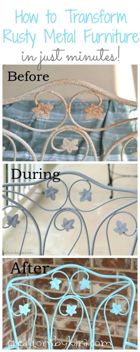 How To Transform Rusty Metal Furniture in just minutes!                                                                                                                                                                                 More