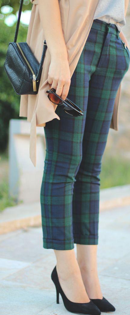 Plaid Pants, neutral tee and sweater / jacket, black pumps