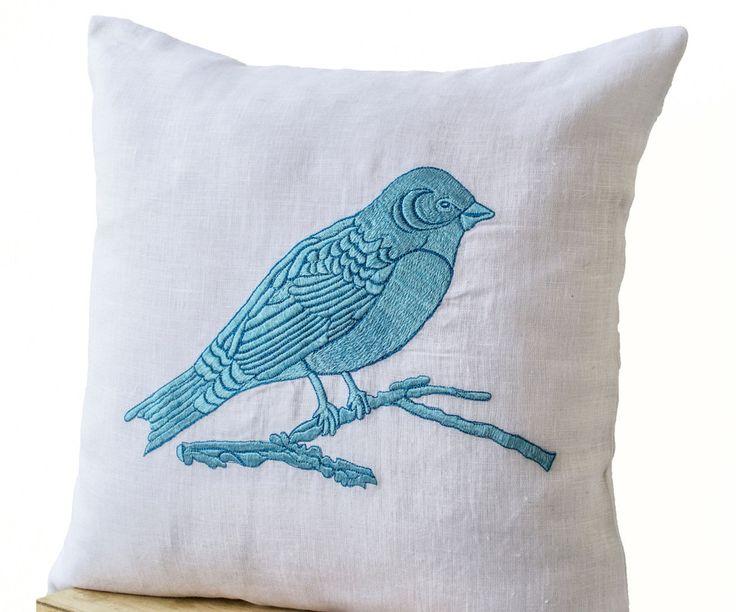 Bird On A Branch Blue Bird Embroidered on White Linen Pillow Case