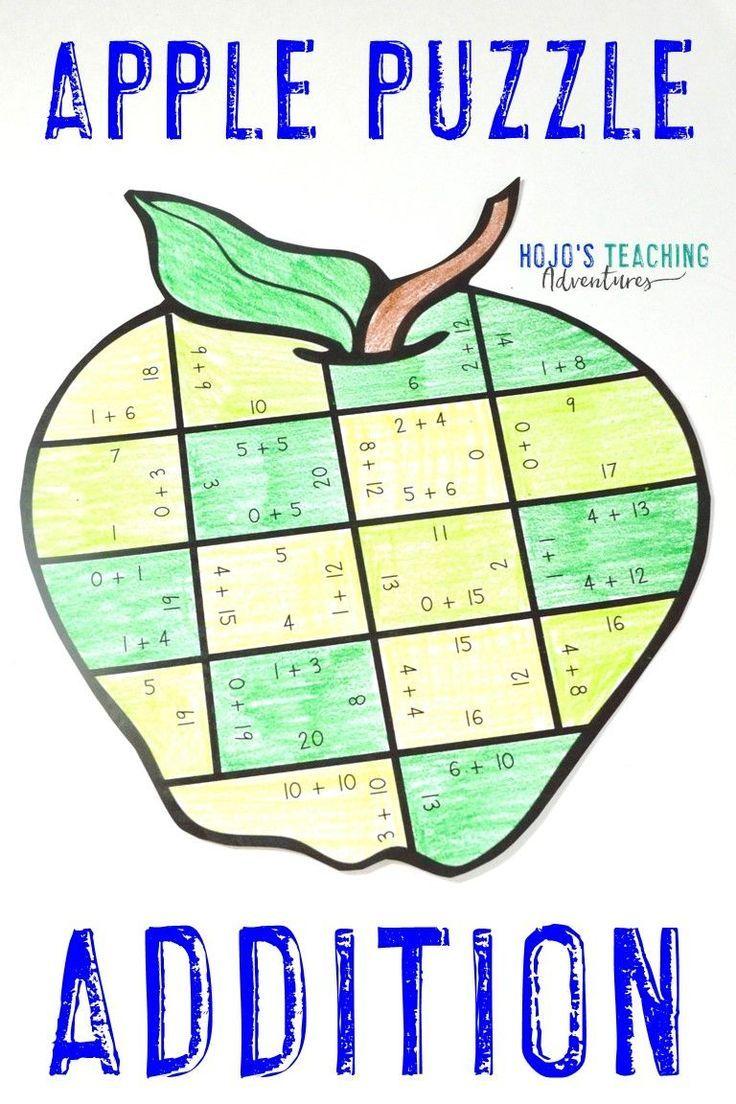 ADDITION Apple Math Worksheet Alternatives   Fall Activities [ 1104 x 736 Pixel ]