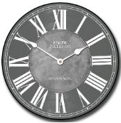 The simplicity of this gray clock is,  what makes it an elegant choice! http://www.clocksaroundtheworld.com/waterford-grey-clock.html