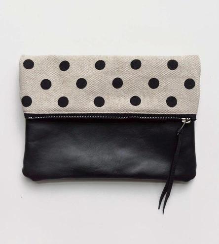 Polka Dot Canvas & Leather Foldover Clutch /