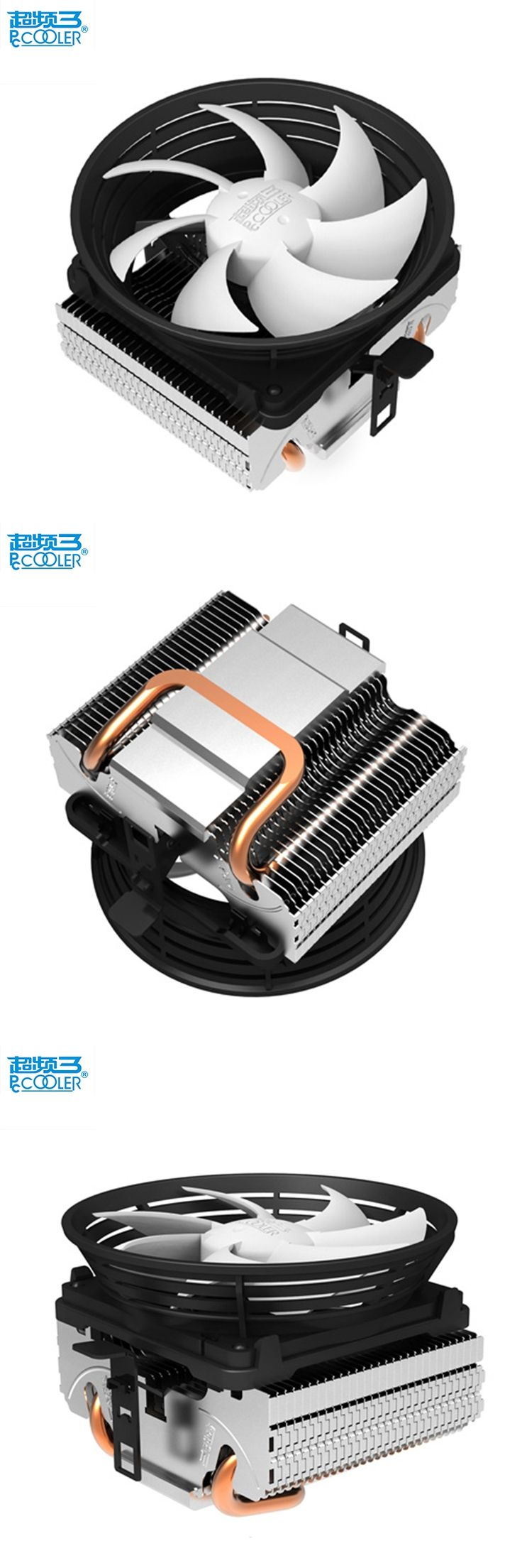 Pccooler V2 pure copper heatpipes silent 10cm/100mm cpu fan for AMD Intel 775 1150 1156 1155 cpu cooling radiator fan cpu cooler