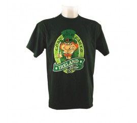 T-Shirt with Cead Mile Failte and Leprechaun Print, Bottle Green colour