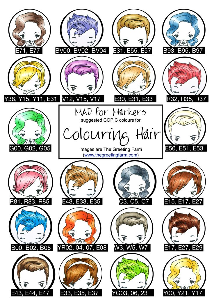 Wonderful guide to Copic colors for hair =)
