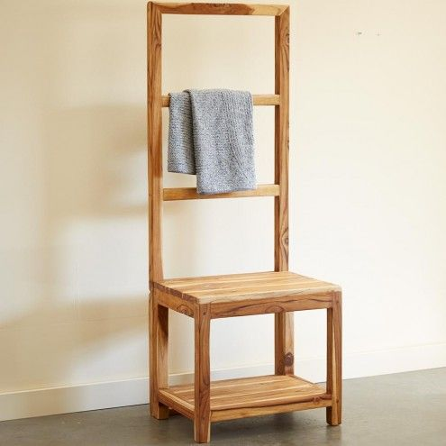 Sustainable Teak Bathroom Butler Towel Rack & Stool | VivaTerra