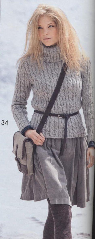 Серый свитер. Вязание спицами.. Обсуждение на LiveInternet - Российский Сервис Онлайн-Дневников