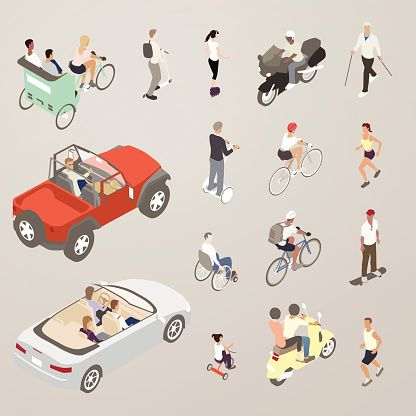 People on the Go - Flat Icons Illustration