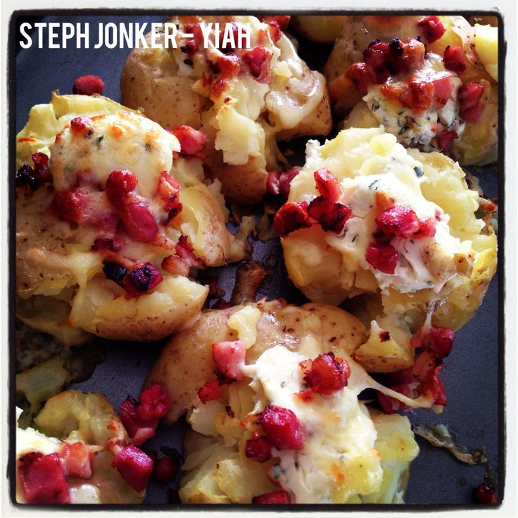 Smashed potatoes. Bake with some cream cheese with YIAH Herb and Garlic or Chive and Onion (or your favourite), top with bacon and cheese and grill! To purchase: http://www.stephaniejonker.yourinspirationathome.com.au/ and come visit me at: www.facebook.com/stephyiah