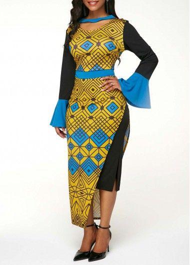 Side Slit Flare Sleeve Printed Dress  e77072526eb8