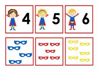 Free: Superhero number matching activity